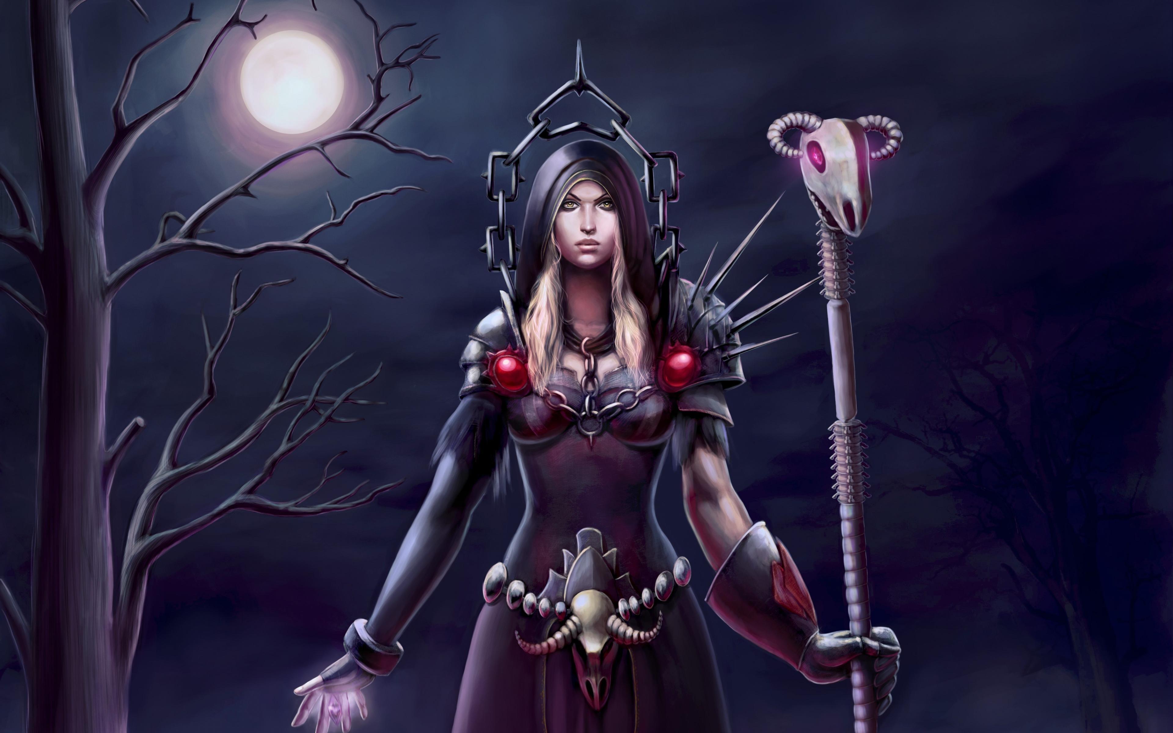 3840x2400 World of warcraft Warlock Moon Tree Warrior Wallpaper 3840x2400