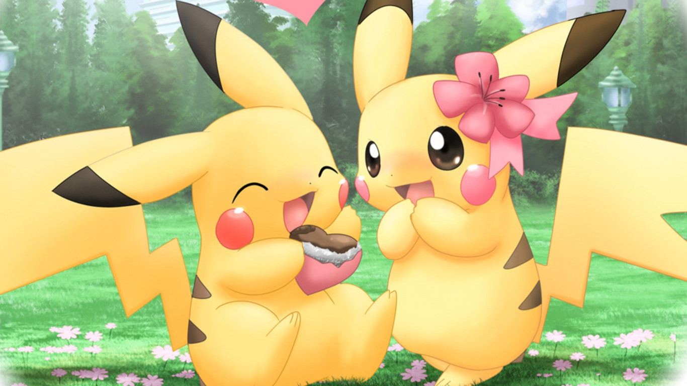 Cute Pikachu Valentine Wallpaper pokemon 1366x768