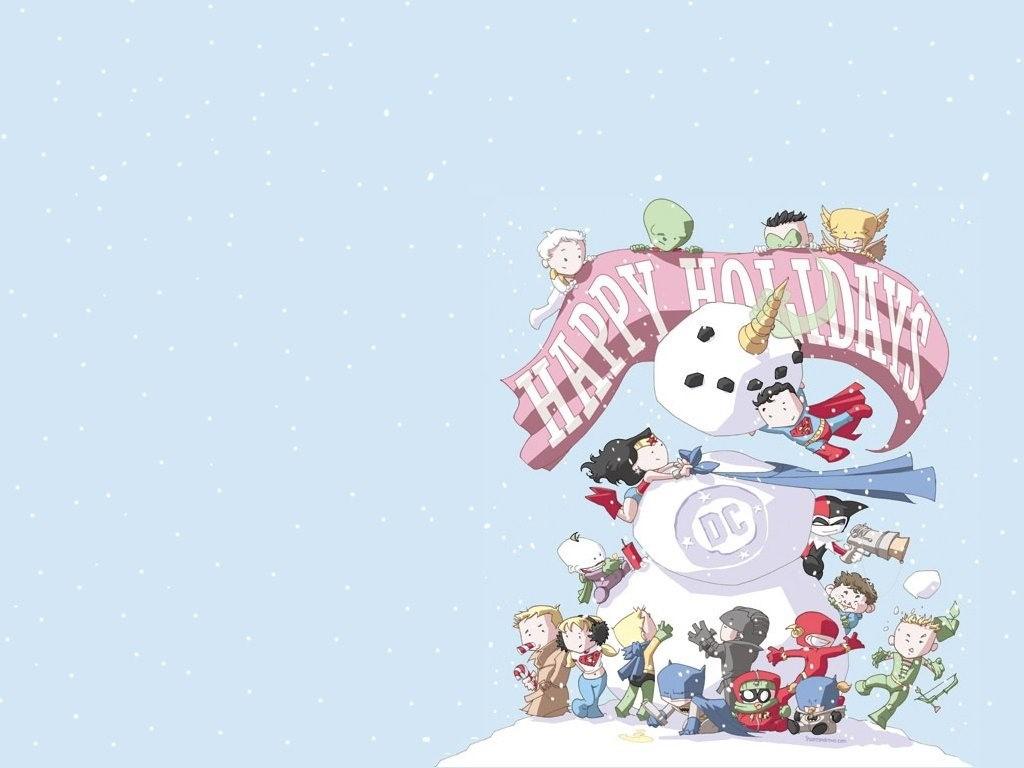 Pantalla Gratis   Fondo de Pantalla de Cmic Personajes DC   Navidad 1024x768