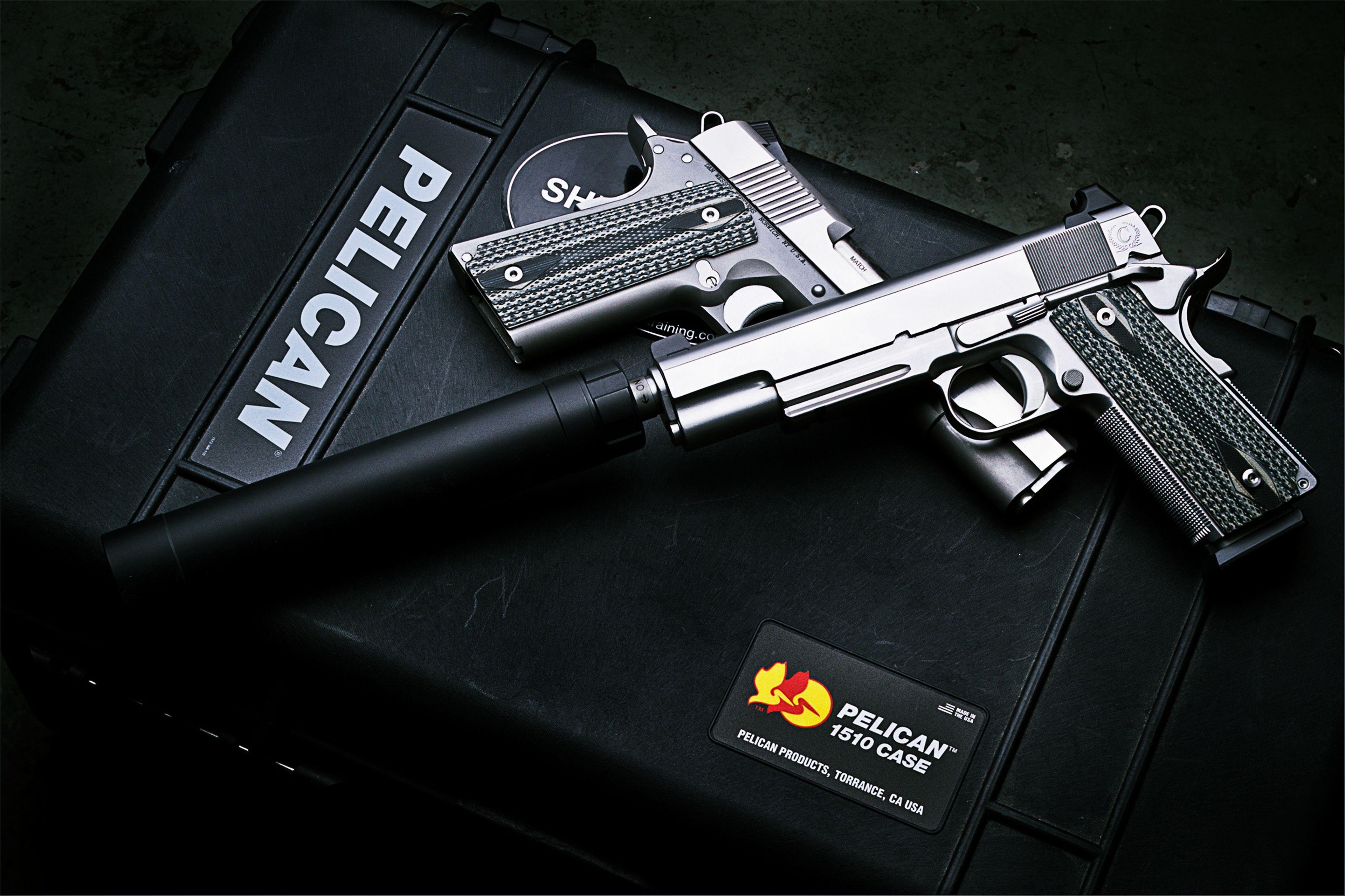 Police Theme Wallpaper Police M1911 Pistol case Hand guns 3840x2559