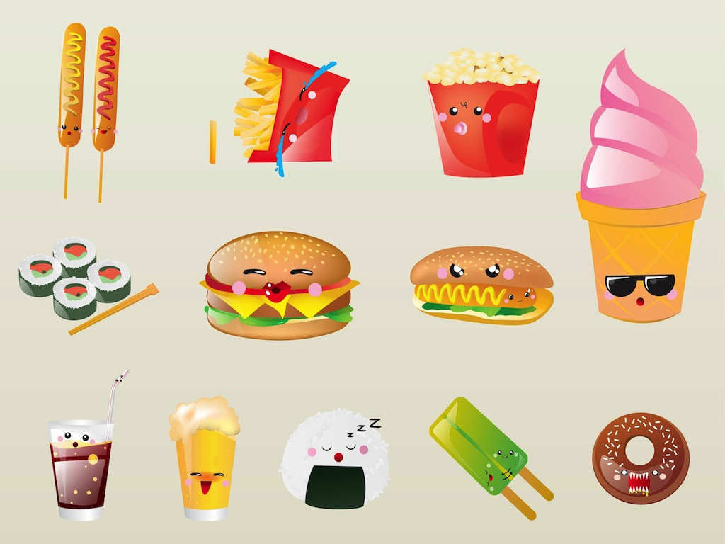 Cartoon Images Of Food   Wallpaper HD Wide 1024x768