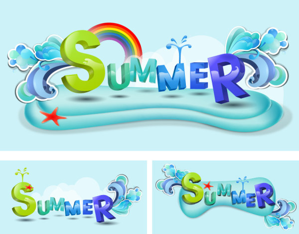 Summer Theme Vector font design material Download Vector 600x469