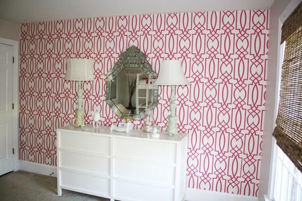 Very cool HotPink trellis design on this rooms wallpaper nursery 612x408