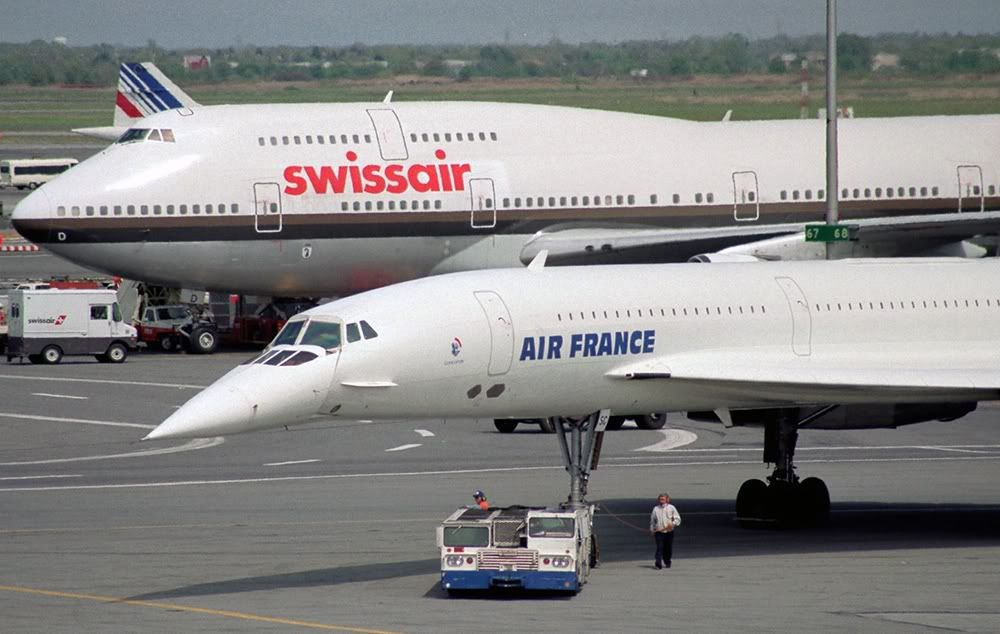 Concorde Air France With Swiss Air Extended Boeing 747 in the 1000x634