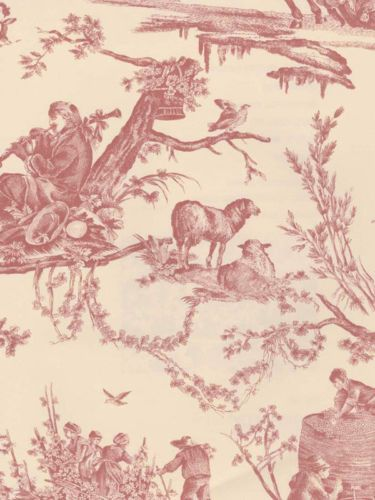 Pierre Deux French Country Toile in Rose Wallpaper 375x500