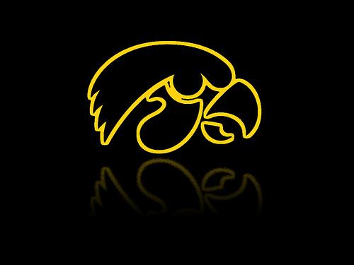 Iowa Hawkeyes Logo Desktop Background Gold Outline Rough Reflection 500x375