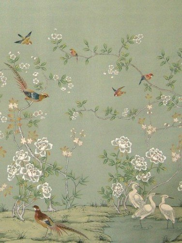 Hand painted chinoiserie wallpaper home homely touches Pinterest 376x500