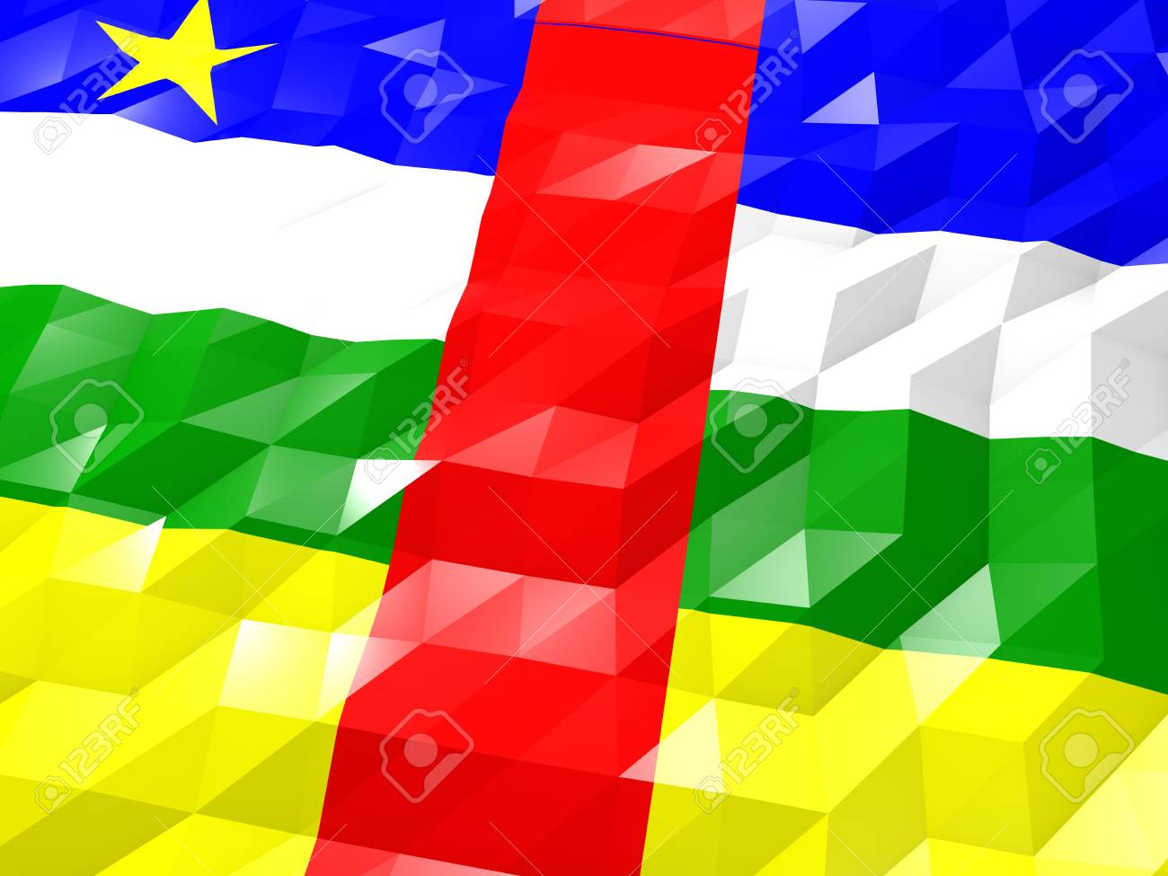 Flag Of Central African Republic 3D Wallpaper Illustration 1300x975