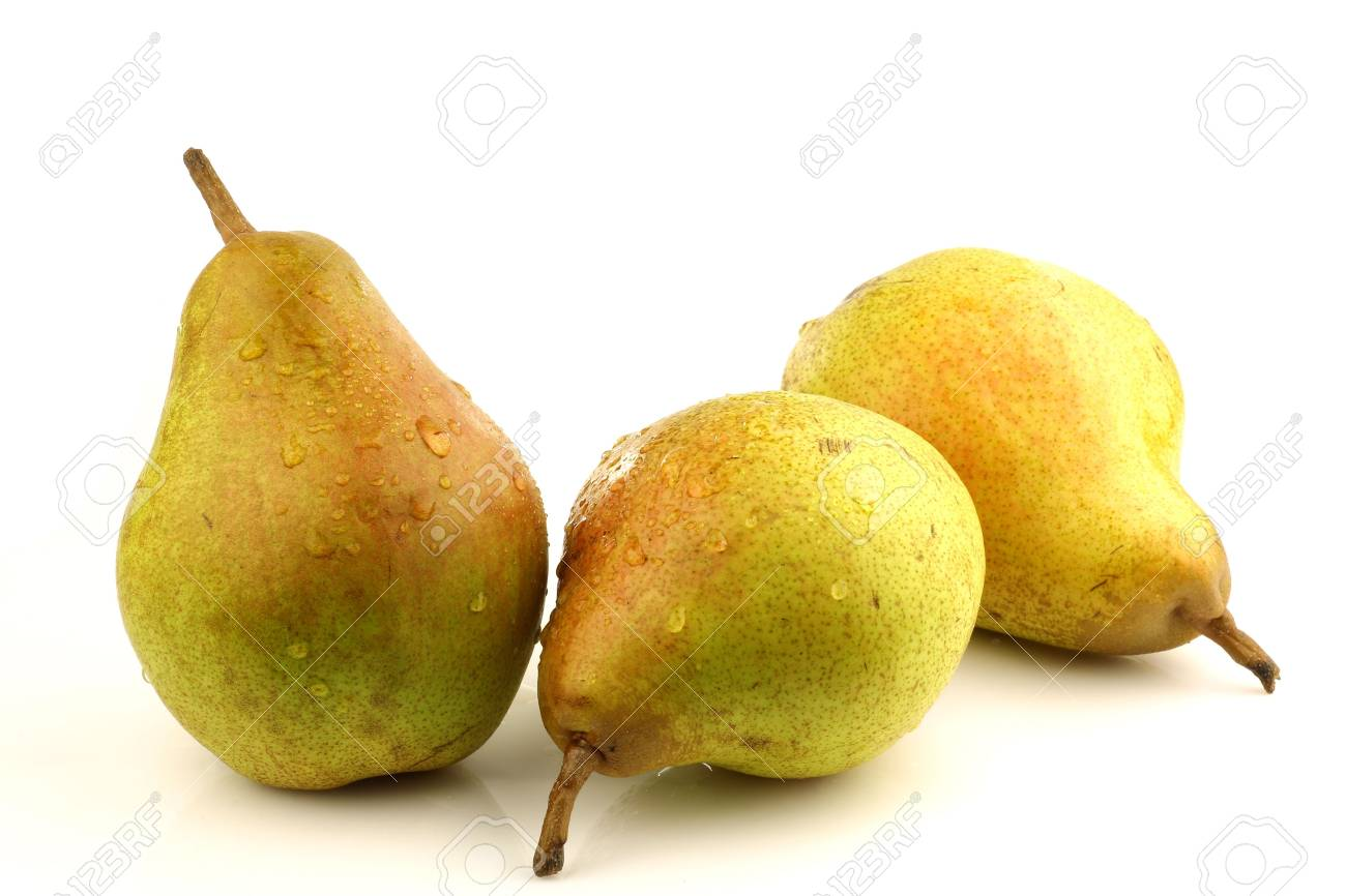 Doyenne Du Comice Pears On A White Background Stock Photo Picture 1300x866