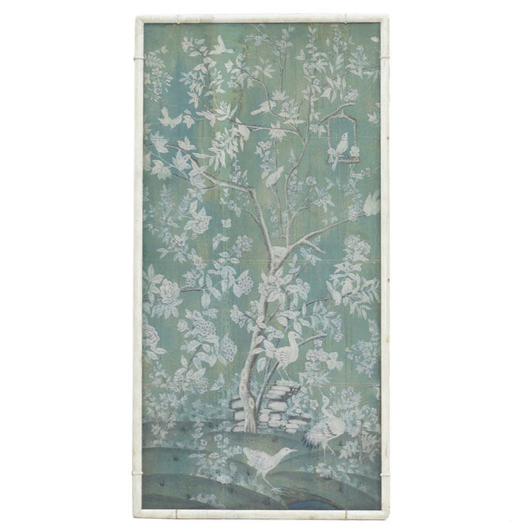 Large 30s French Chinoiserie Hand Painted Framed WallPaper Panel at 768x768