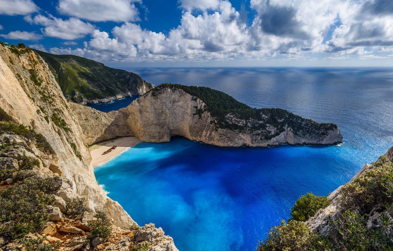 Wallpaper beach rocks island Greece The Ionian sea Zakynthos 1332x850