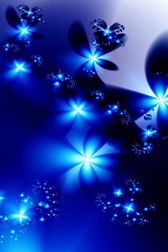 beautiful blue abstract flower flori iphone 4 wallpapers backgrounds 640x960