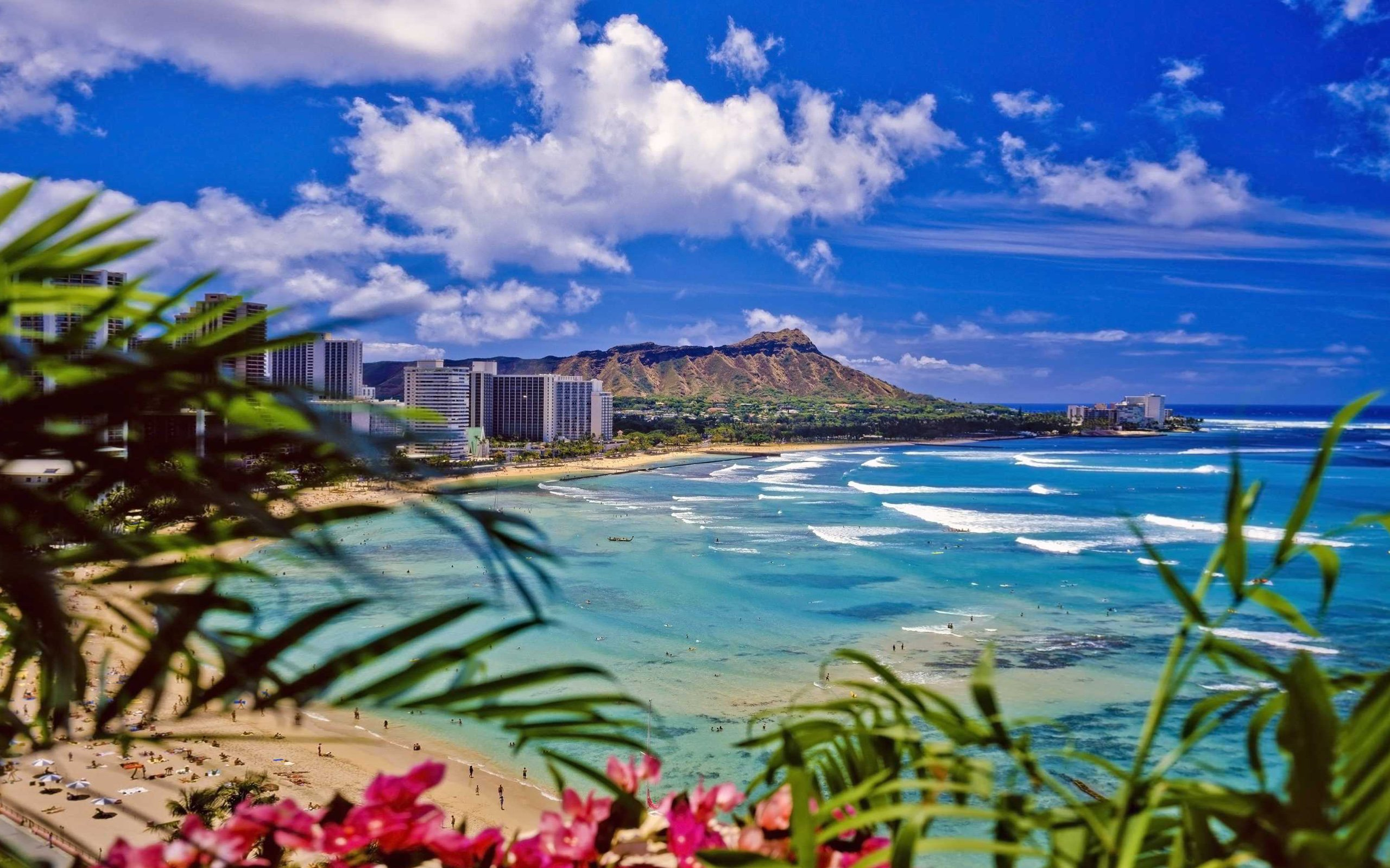 Waikiki Beach Oahu Desktop Wallpaper Hd 2560x1600 Wallpapers13com 2560x1600