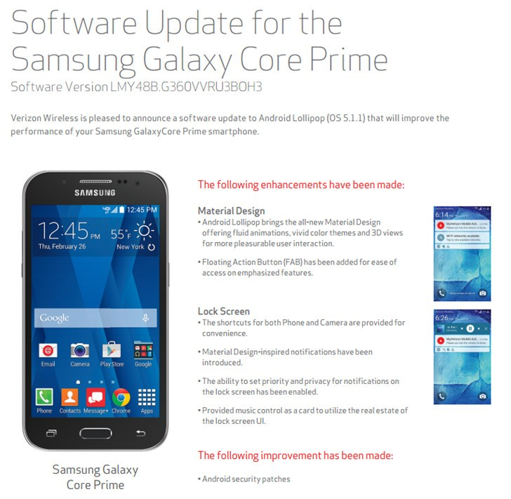 Samsung Galaxy Core Prime Receiving Android 5.1.1 Lollipop Update at ...