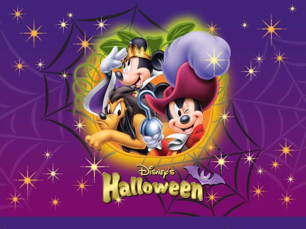 mickey and minnie mouse heading for halloween party wallpaper - Halloween Party Wallpaper