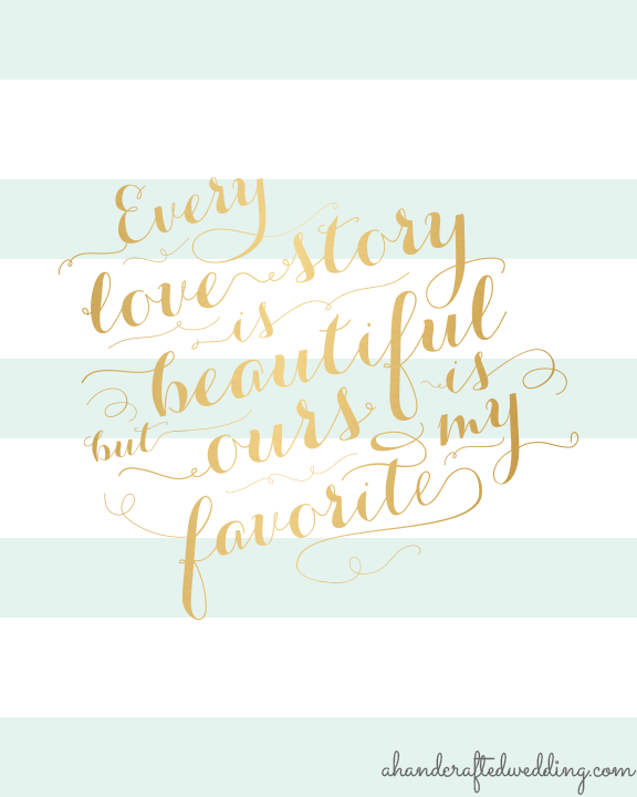 digital download preview mintgold printable love quote every love 576x720