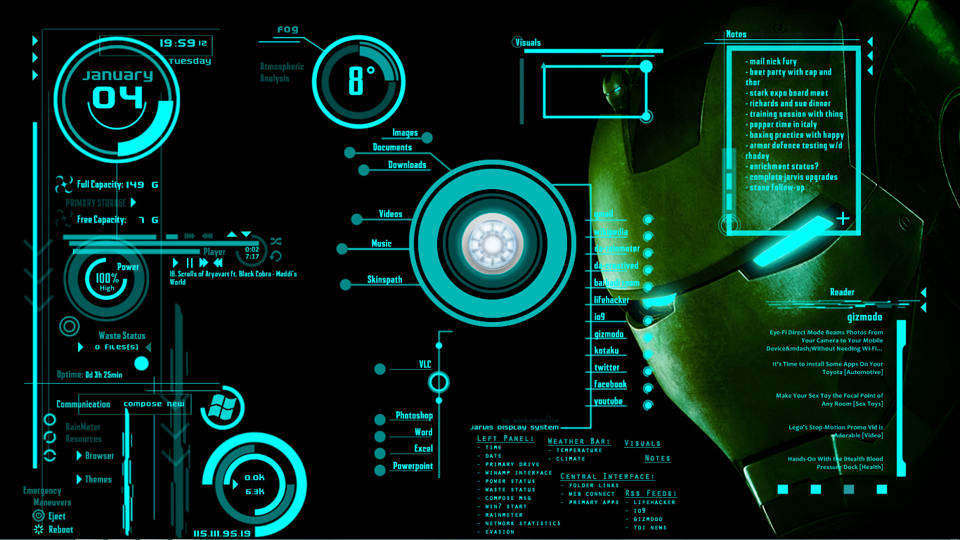 Iron Man 3 Jarvis Wallpapers Ironman jarvis 1366x768