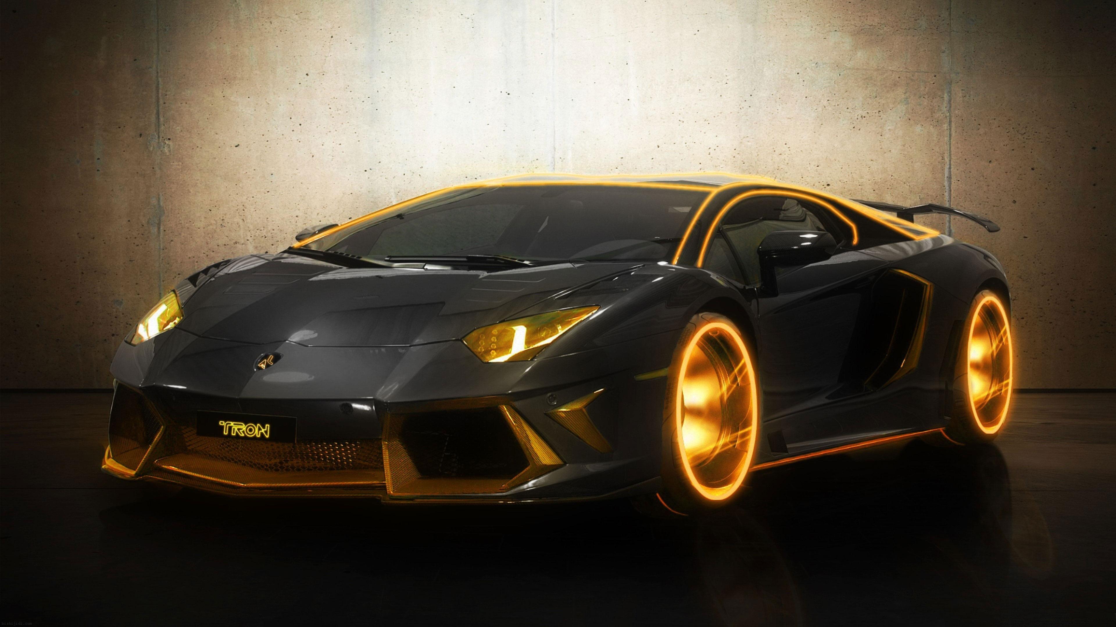 Luxury Lamborghini Aventador Tron Gold Wallpaper HD Nice 3840x2160