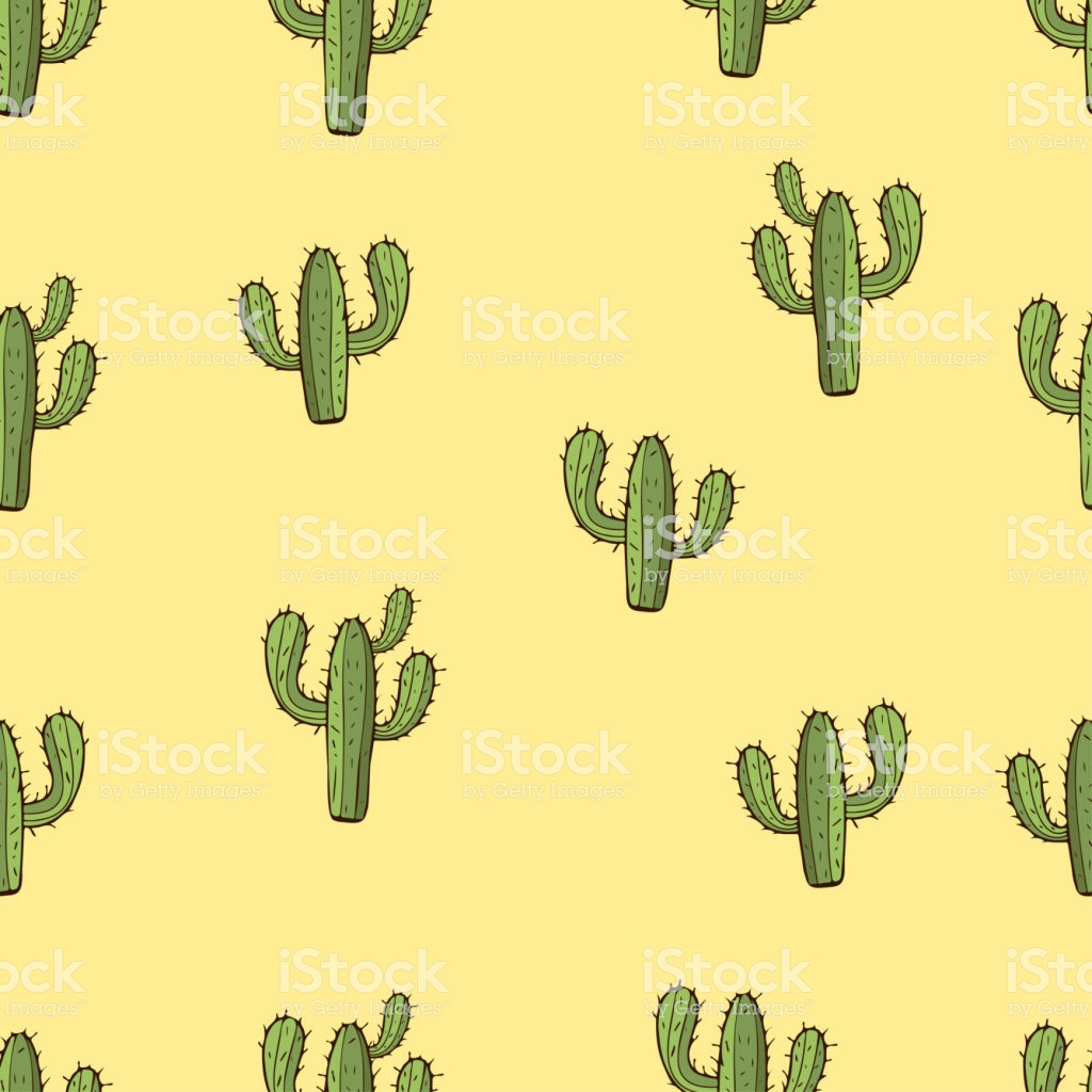 Cactus Seamless Pattern Hand Drawing Vector Illustration Painted 1024x1024