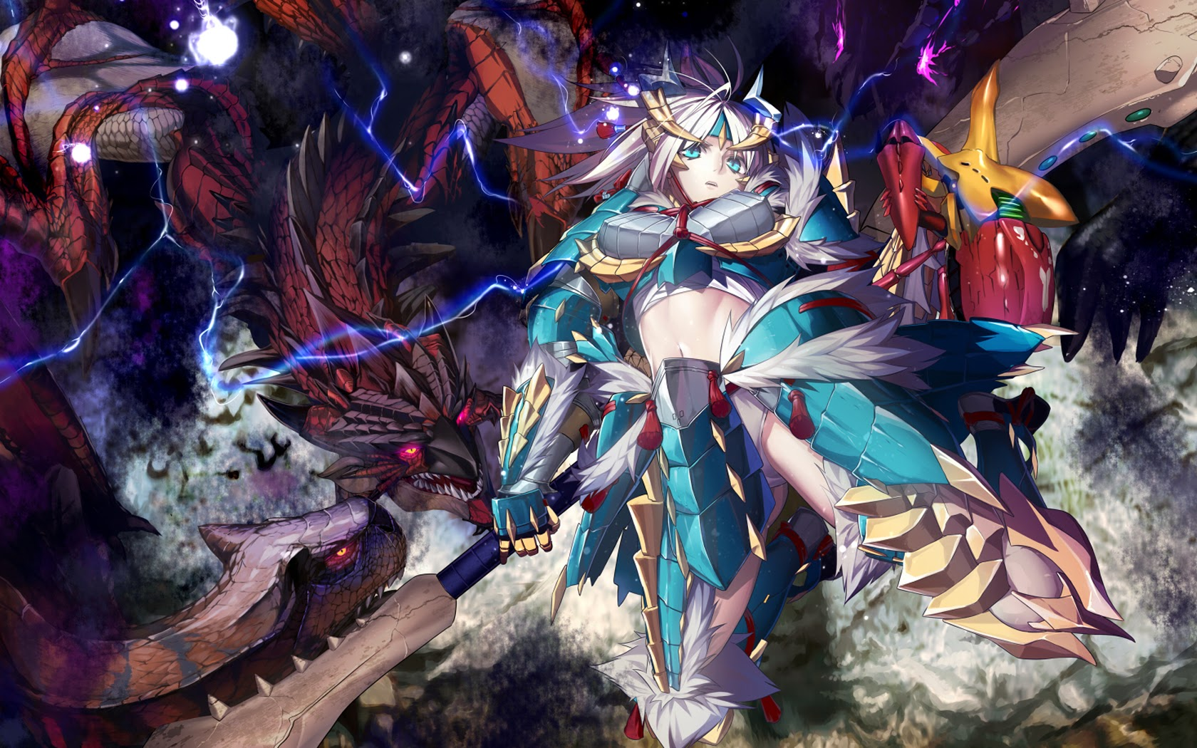 Anime Girl Monster Hunter Dragon Armor Weapon Hd Wallpaper 1680x1050