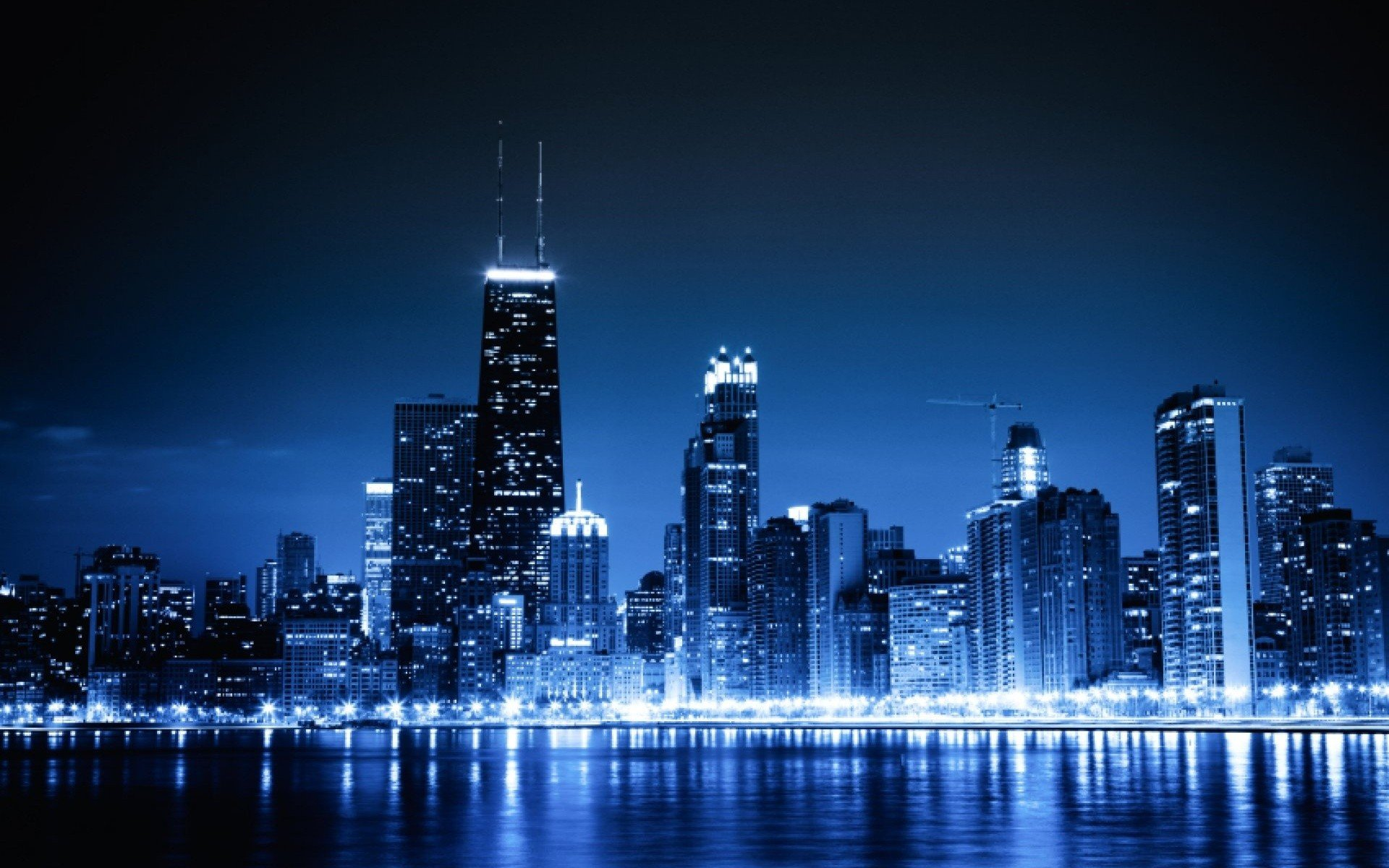 cityscapes Chicago night lights urban skyscrapers wallpaper background 1920x1200