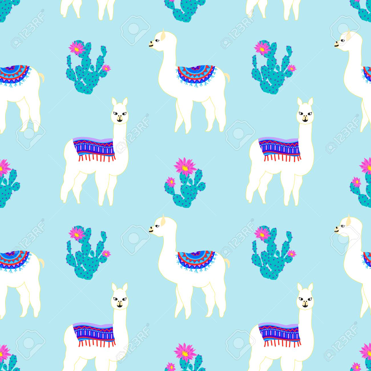 Seamless Pattern With Cute Llama Cactus And Flower Vector 1300x1300