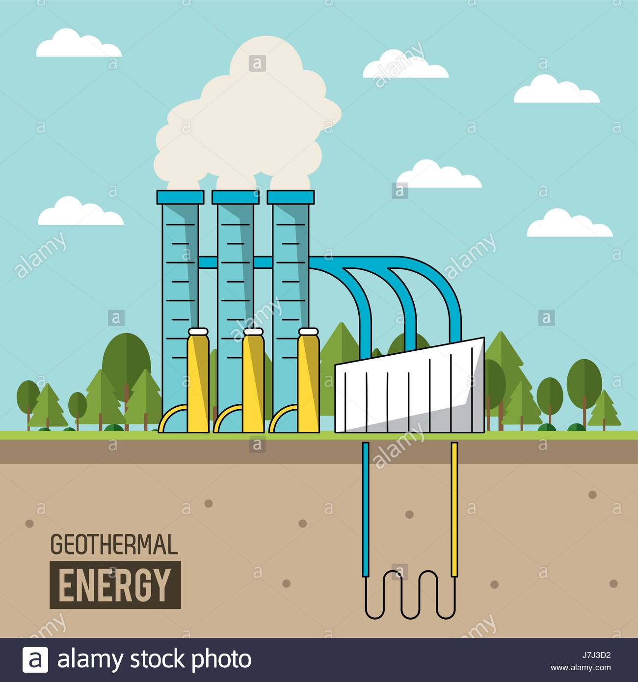 coloful background geothermal energy production plant with forest 1300x1390