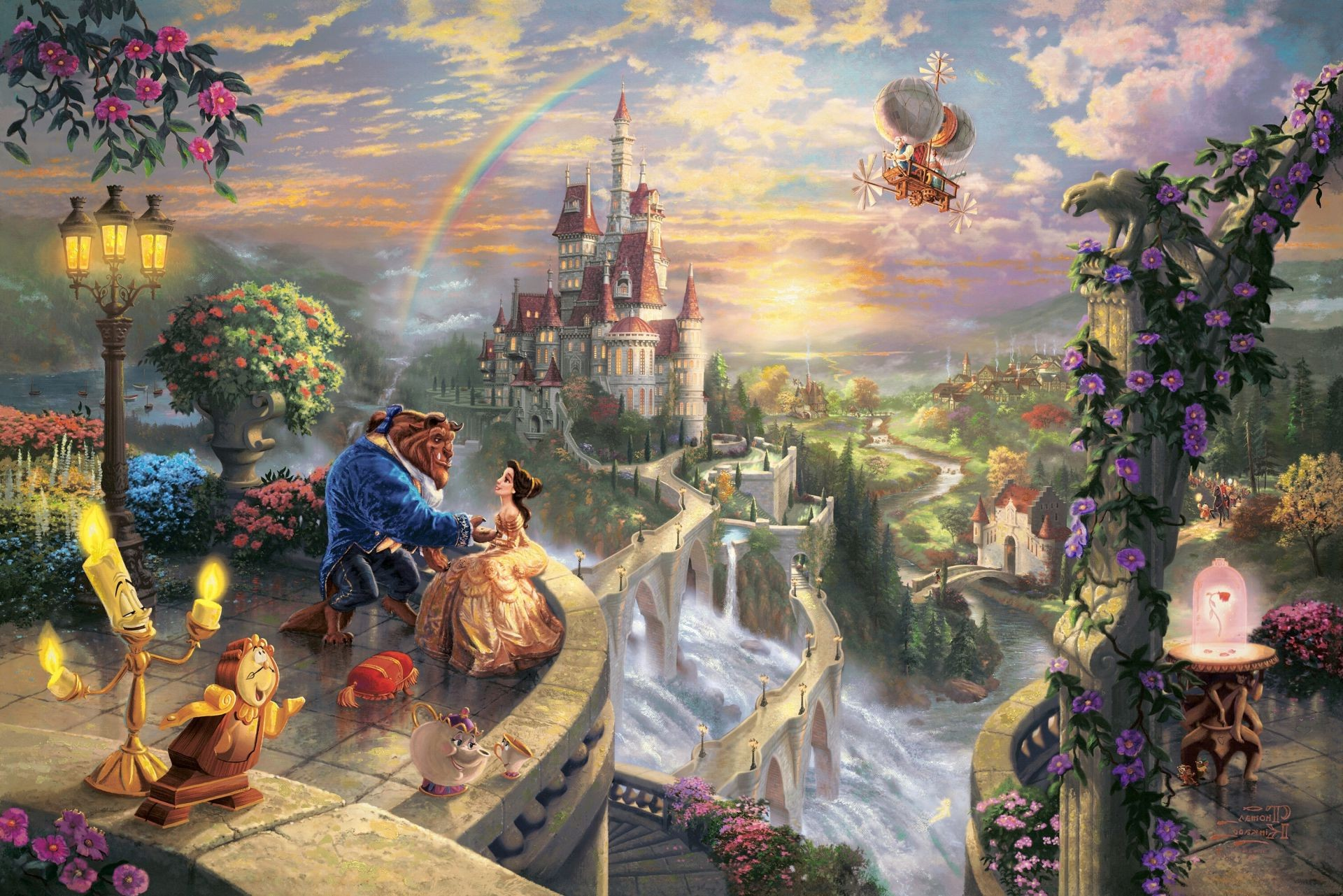 Thomas kinkade the disney dreams collection beauty and the 1920x1281
