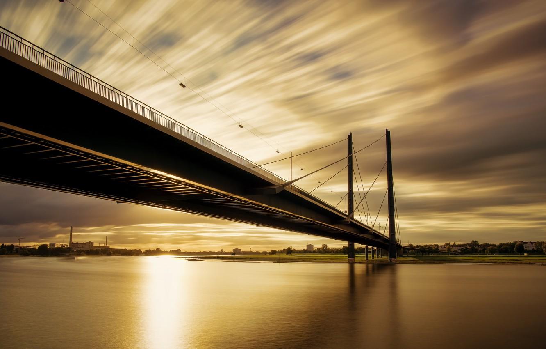 Wallpaper Sunset River Rhine Dsseldorf Golden Knee Bridge 1332x850