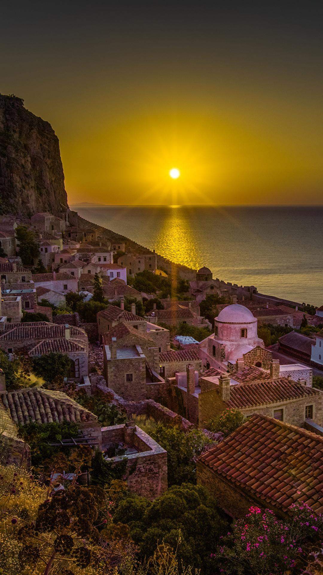 Photos Greece Monemvasia Sun Sea Roof Rock Sunrises and 1080x1920 1080x1920