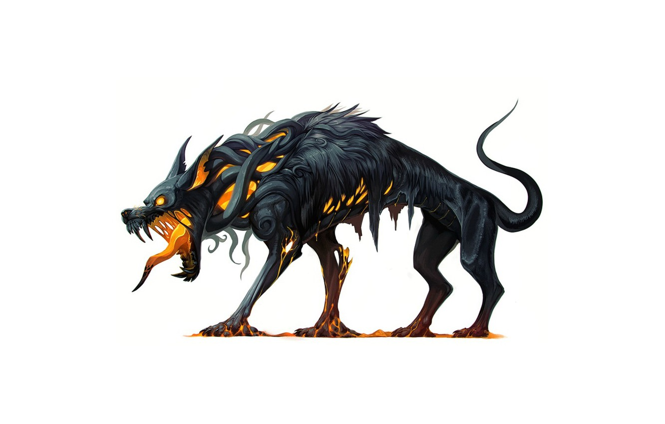 Wallpaper background fantasy art beast dog beast Hellhound 1332x850