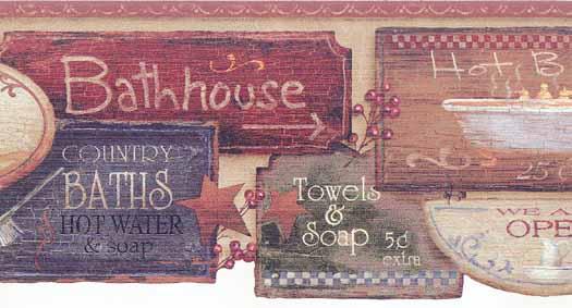 Bathroom Items Wall Border Wallpaper Border   Wallpaper Border 525x283