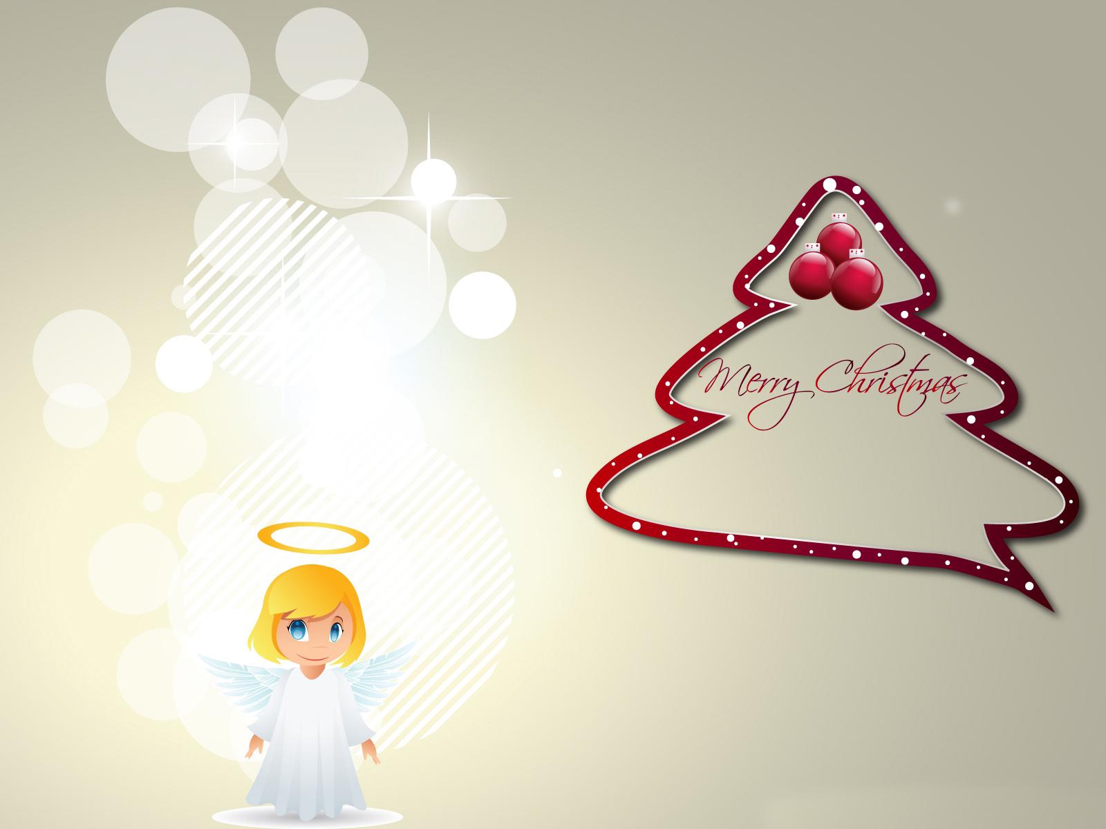 Merry Christmas Angel computer desktop wallpapers pictures 1600x1200