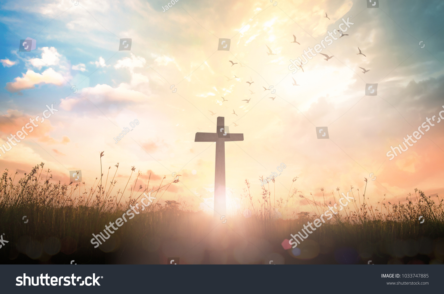 Ascension Day Concept Silhouette Cross On Stock Photo Edit Now 1500x996