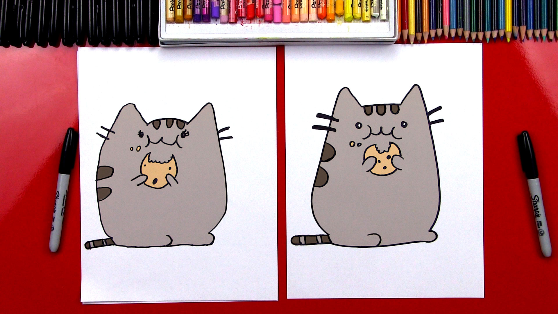How To Draw The Pusheen Cat Eating A Cookie GIVEAWAY   Art For 1920x1080