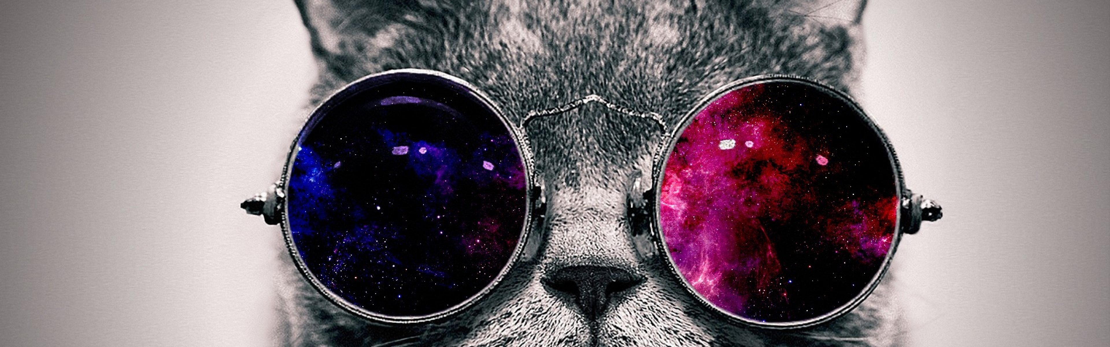 Funny Space Cat With Glasses 3840x1200