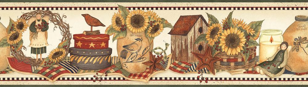 wallpaper inccomGreen Country Sunflower Crock Wallpaper Border 1000x284