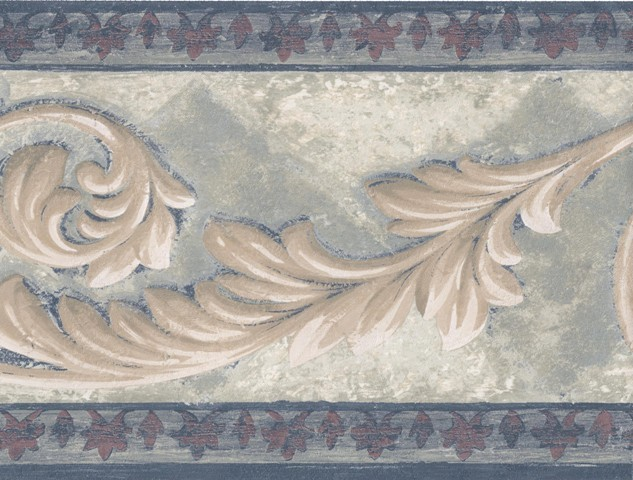 Bordo Cream Leaf Molding Wallpaper Border Roll traditional wallpaper 633x480