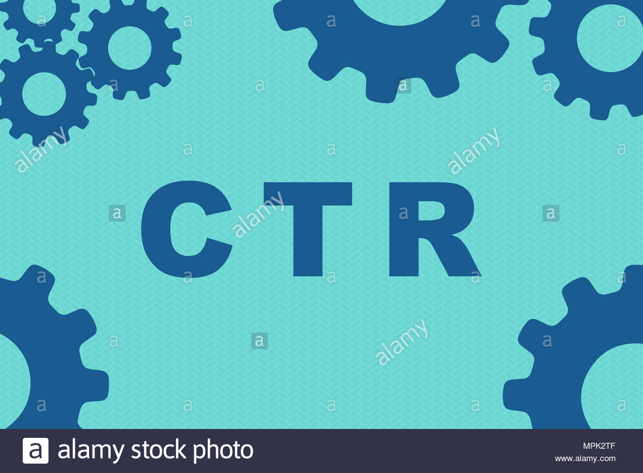 CTR sign concept illustration with blue gear wheel figures on pale 1300x956