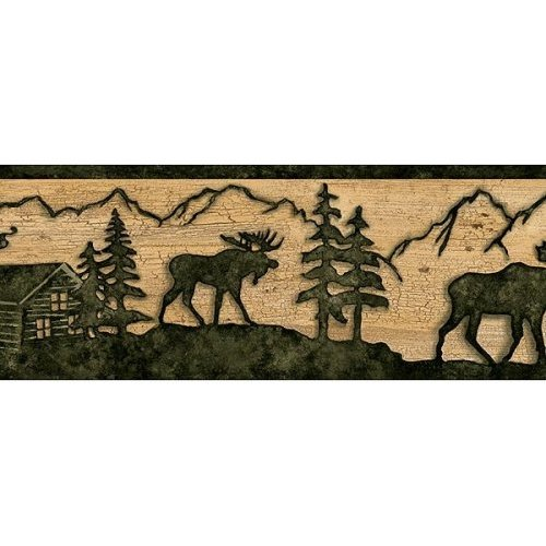 Timber Creek Lodge Border Silhouette MOOSE Log cabin Wallpaper wall 500x500