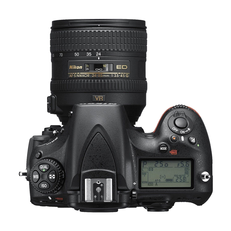 Nikon D810 SLR Camera top view transparent image Png Images 800x800