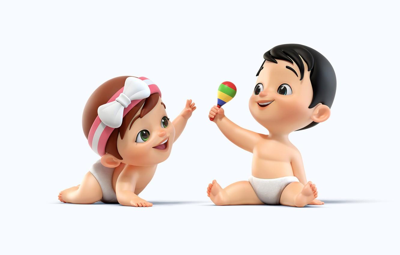 Wallpaper baby art childrens rattle Lo Rezende Babies 1332x850