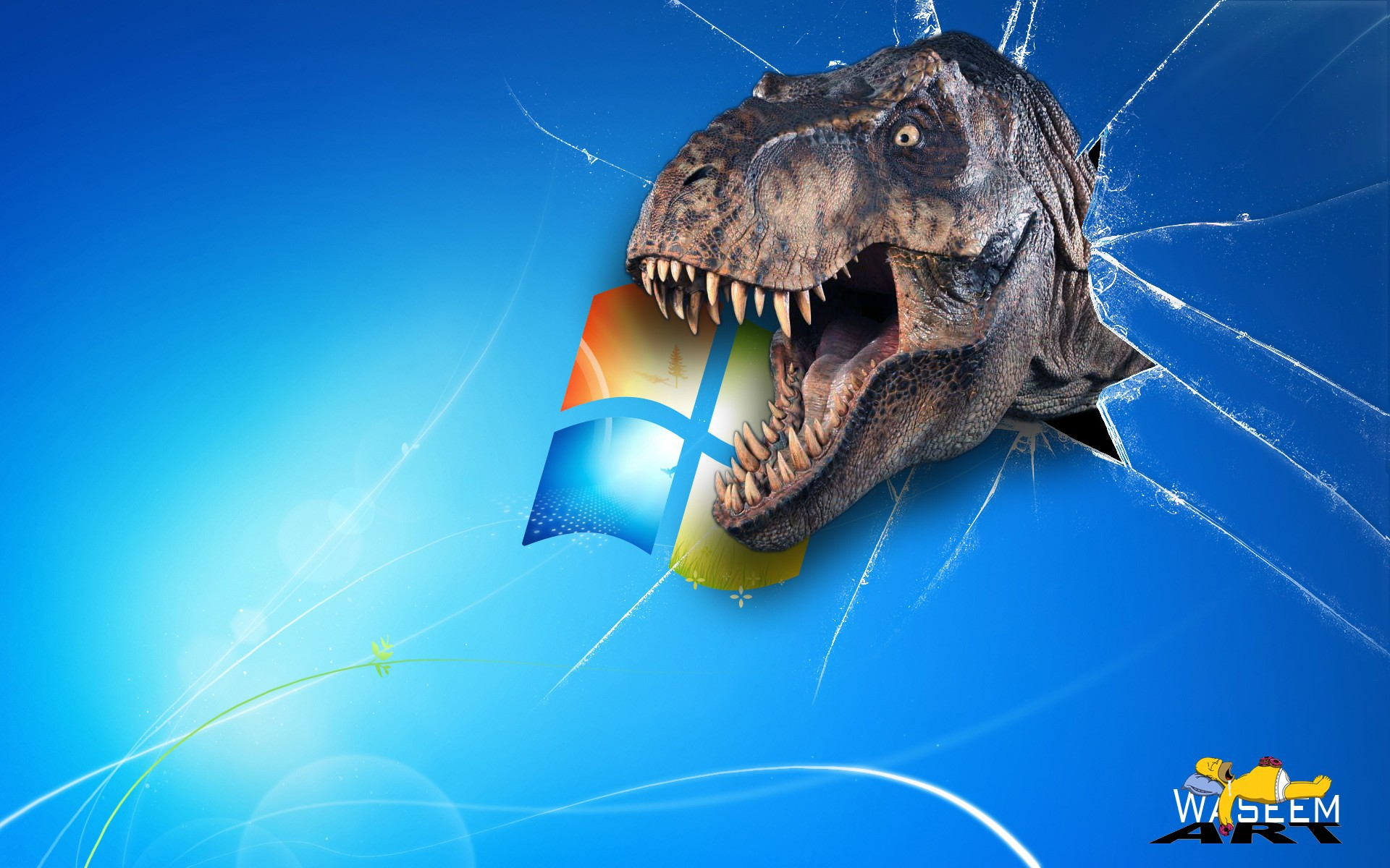 Windows with a dinosaur wallpapers and images   wallpapers pictures 1920x1200