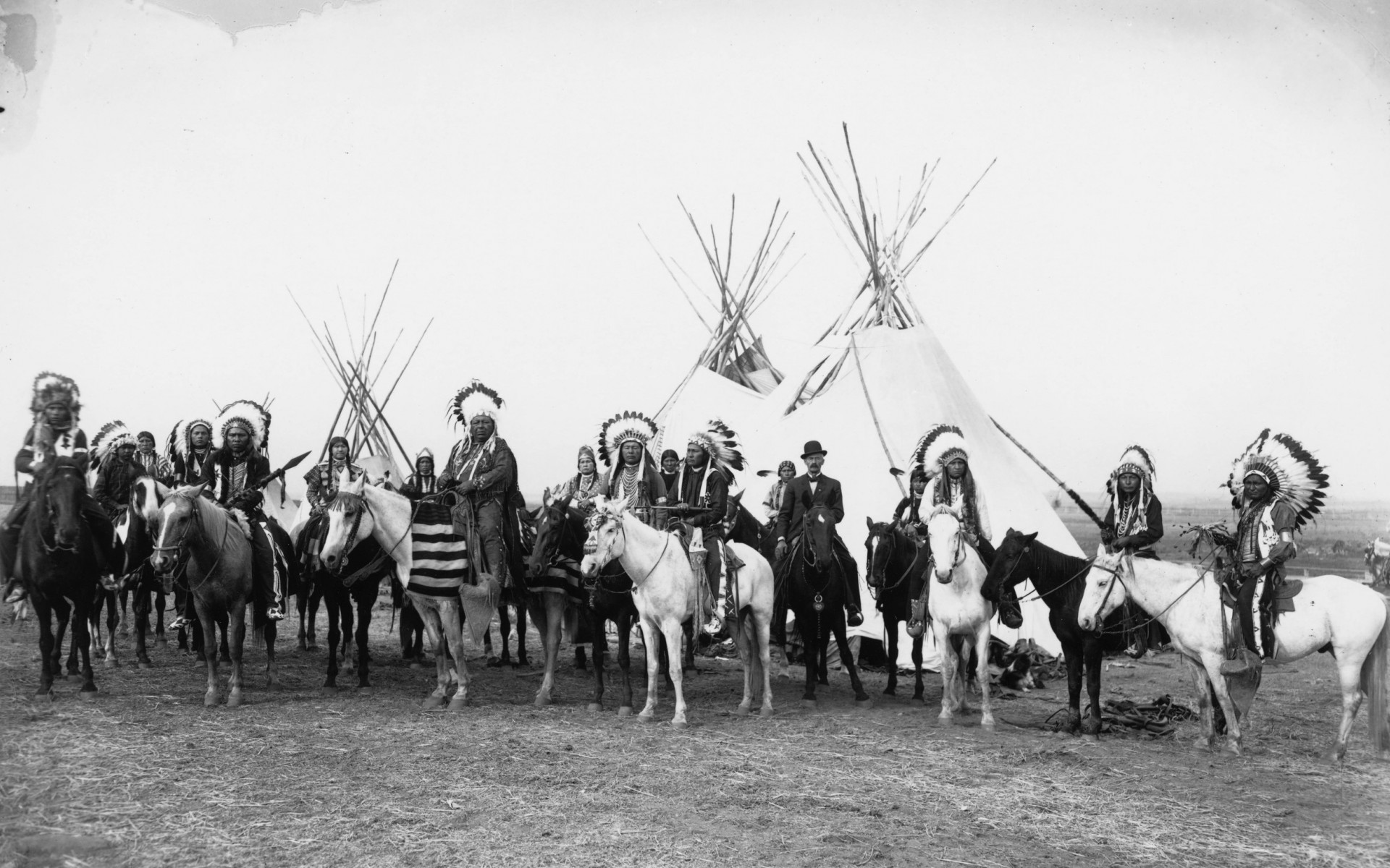 black white native american people crowd history wallpaper background 1920x1200