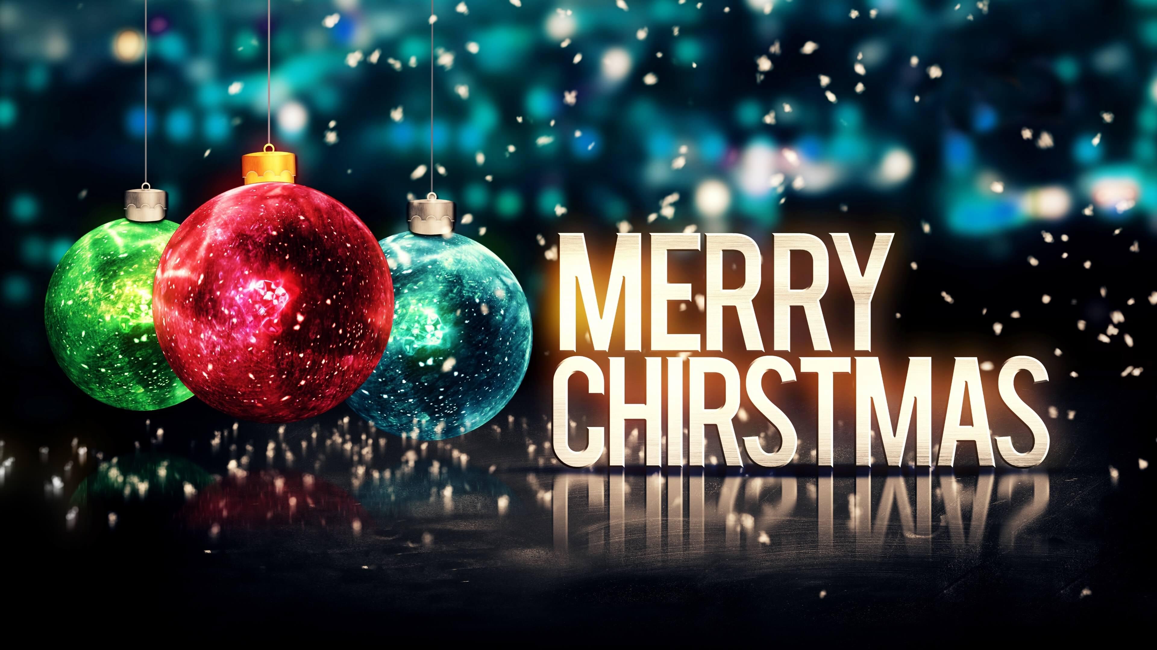 Merry Christmas Balls Glitter 4K Ultra HD Desktop Wallpaper Jark 3840x2160
