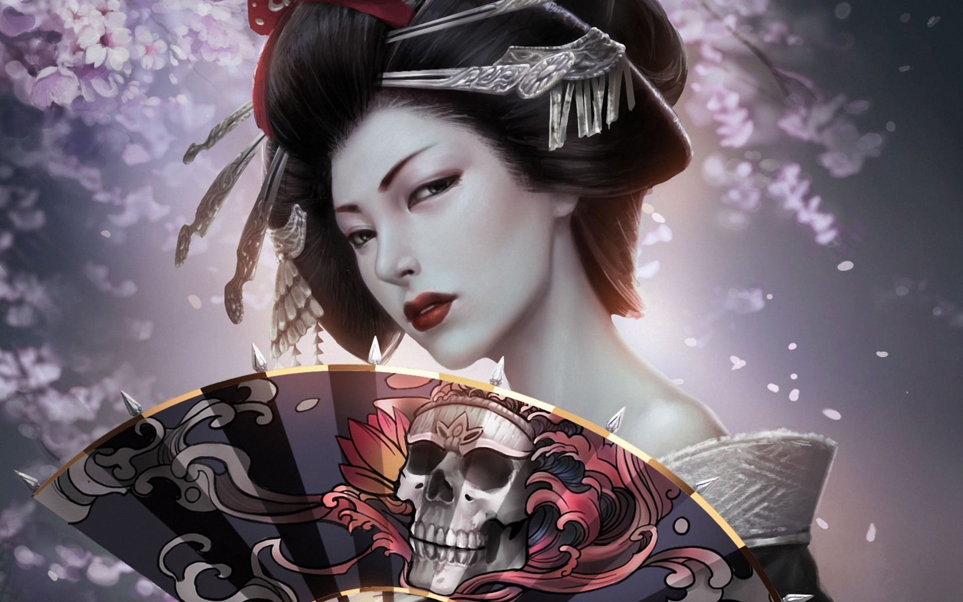 Japanese Girl Geisha Skull Art HD Wallpaper 1920x1200