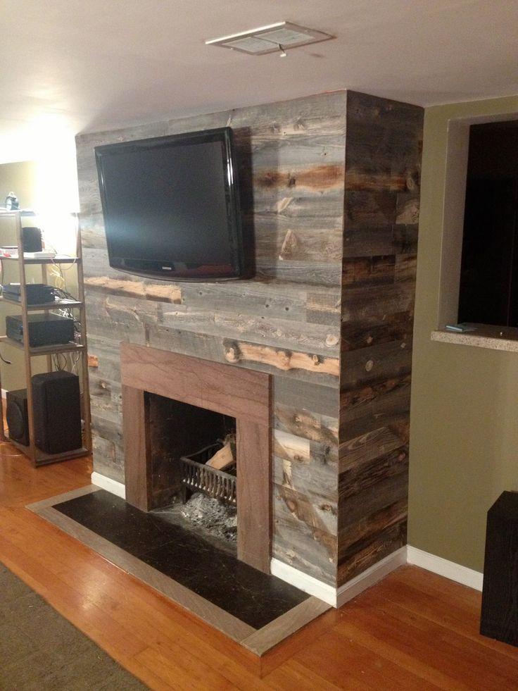 Barnwood Fireplace Wall