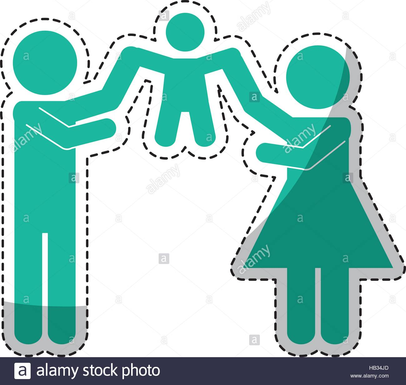 sticker of family of parents and kids over white background 1300x1231