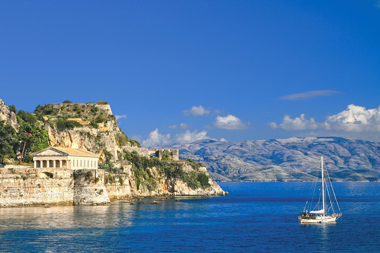 Wallpaper Greece Corfu Sea Rock Nature mountain Sky Coast 1280x853
