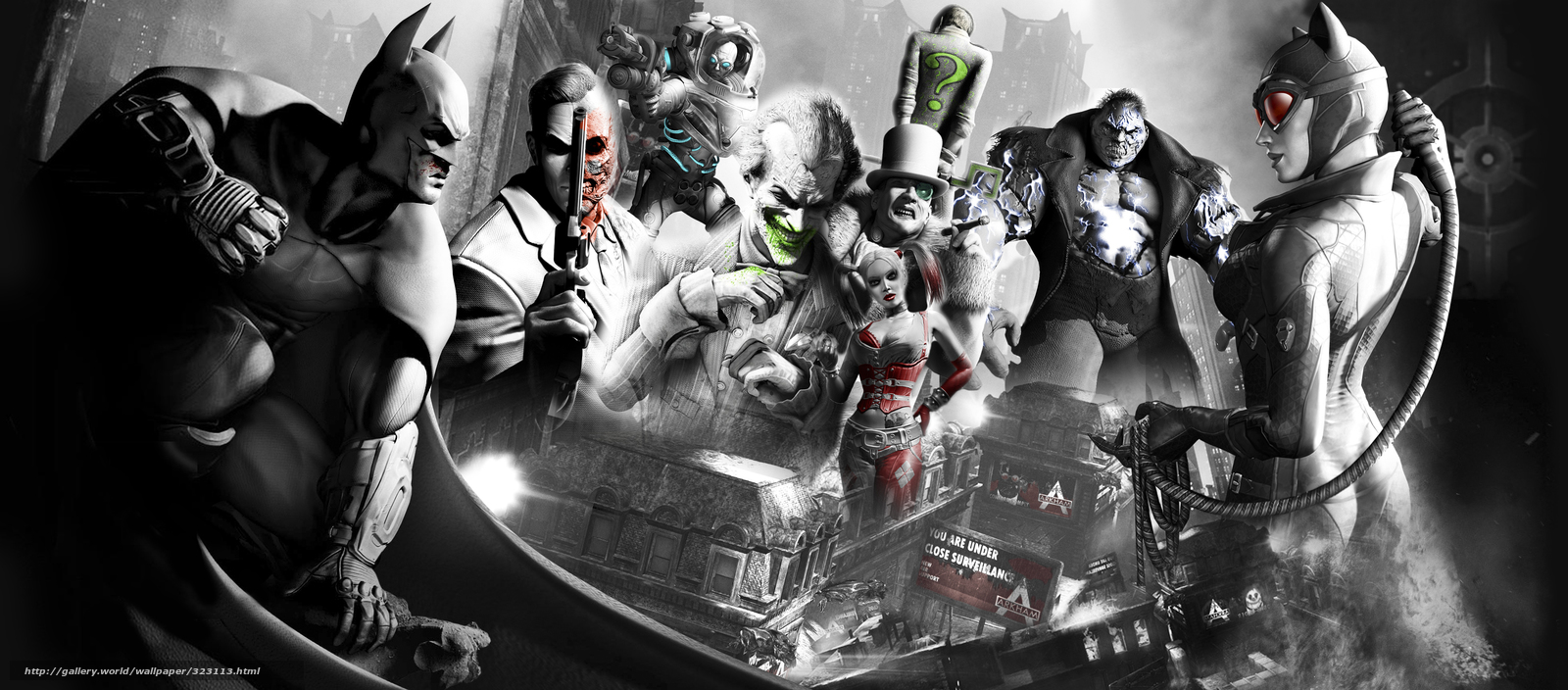 Download wallpaper batman arkham city batman Catwoman catwoman 1600x704